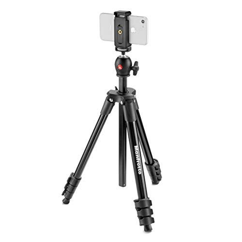 Manfrotto MKSCOMPACTLTBK Compact Light Aluminium Stativ (mit Kugelkopf und Smartphone Halterung für IPhone, Samung, Huawei, LG, Google phones, DSLR, Spiegellos, Kompaktkameras) schwarz