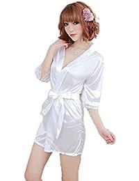 Ropa de dormir Kimono Sexy Ropa de dormir Vestido de encaje de satén de seda Baño Robe G Cadena (Blanco, Largo Tamaño)
