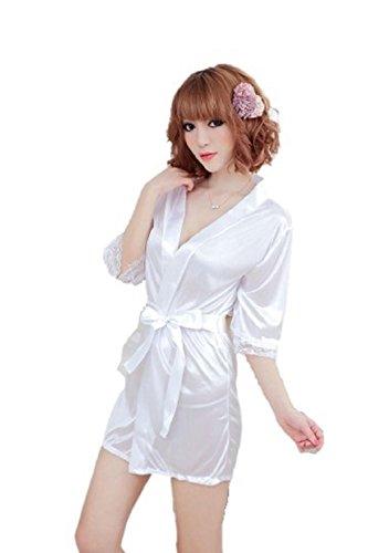 Nachtwäsche Kimono Sexy Nachtwäsche Silk Satin Spitze Morgenmantel Bademantel G String(Weiß, Kurz) (Silk-roben Sexy)