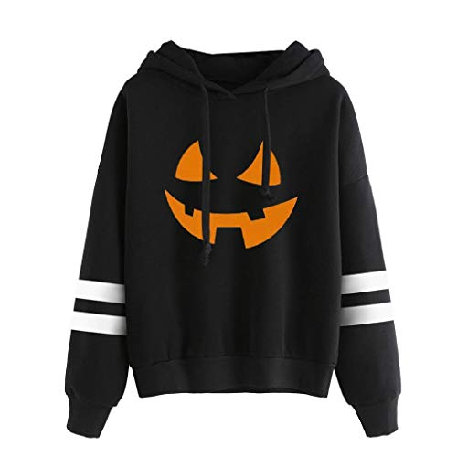 (VEMOW Heißer Damen Halloween Printed Casual Sweatshirt Langarm Daily Party Sport Kapuzenshirt Bluse(Schwarz 2, EU-38/CN-M))