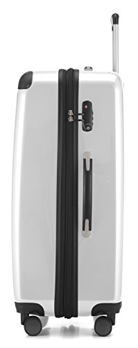 HAUPTSTADTKOFFER - Alex - NEU 4 Doppel-Rollen Großer Hartschalen-Koffer Koffer Trolley Rollkoffer Reisekoffer, TSA, 75 cm, 119 Liter, Weiß - 2