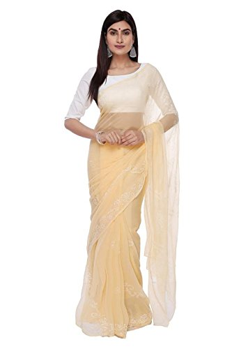 BDS Chikan Hand Embroidered Lucknow Chikankari Cream Georgette Saree with Blouse For...