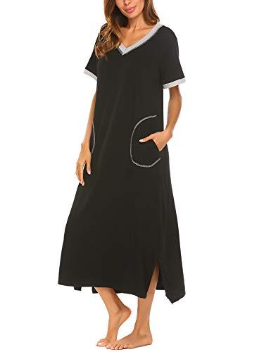 Damen Nachthemd Baumwolle still pyjama lang weich frauen schlafkleid V-Ausschnitt Nachtkleid sommer, Gr.-44,6619_Schwarz, XXL -