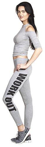 WORKOUT Leggings Yoga Pant Pants Legings Training Sport Hose Modell 2016 Statment Print Aufdruck Squat Fitness Sport Hellgrau / Schwarz