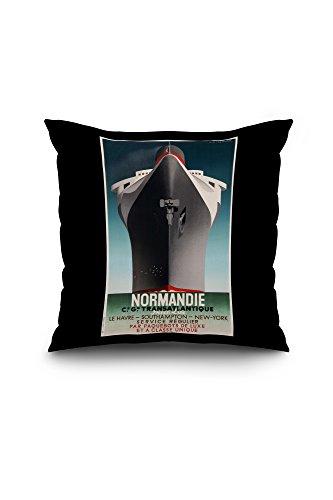 Normandie - Service Regulier Vintage Poster (artist: Cassandre) France c. 1935 (18x18 Spun Polyester Pillow Case, Black Border)