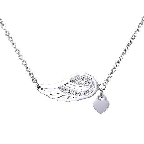 Morella Necklace Women with Pendant Angel Wings and Heart Stainless Steel Silver Plated in Velvet Bag