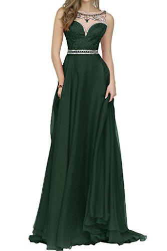 Milano Bride Charmant Chiffon A-Linie Abendkleider Prompartykleider Bodenlang Steine Dunkelgruen