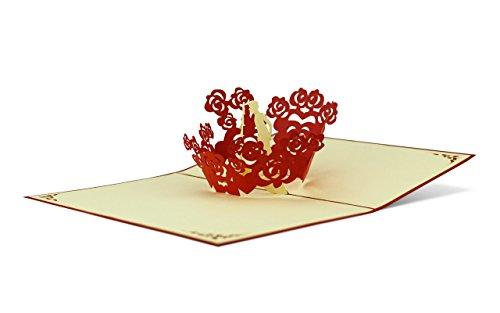 Liebe & Hochzeit Paar in Herzen 3D Pop-Up Karte   Elegant   Geldgeschenk   Glückwunsch   Einladungskarte mit Umschlag L05 ()