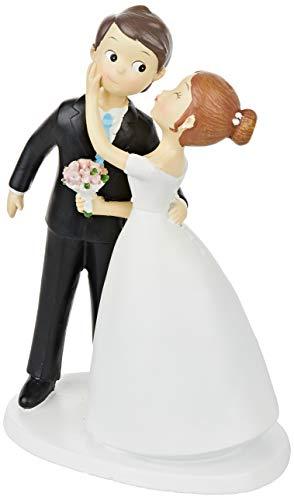 mopec Y971 Brautpaar für Torte, Paar-Kuss, 21 cm, gebrochenes Weiß