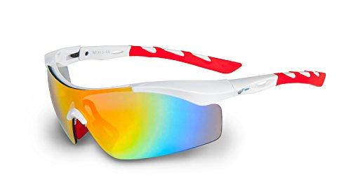 Nexi S-4 Sonnenbrille ideal als Sportbrille oder Fahrradbrille für Herren und Damen mit Revo inklusive Etui und Mikrofasertuch
