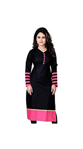 Kurta (Vipul Women's Branded Black & Pink Casual Wear Cotton Free Size Kurti (Best Gift For Mummy Mom Wife Girl Friend, Offers and Sale Discount) )  available at amazon for Rs.177
