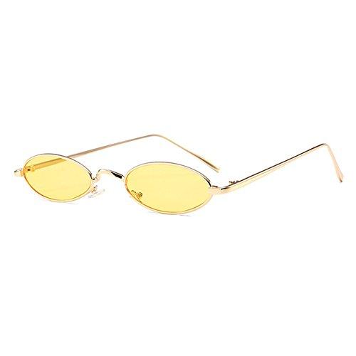 Mxssi kleine ovale Sonnenbrille für Männer Frauen Retro Metallrahmen gelb rot Vintage Sonnenbrille C5