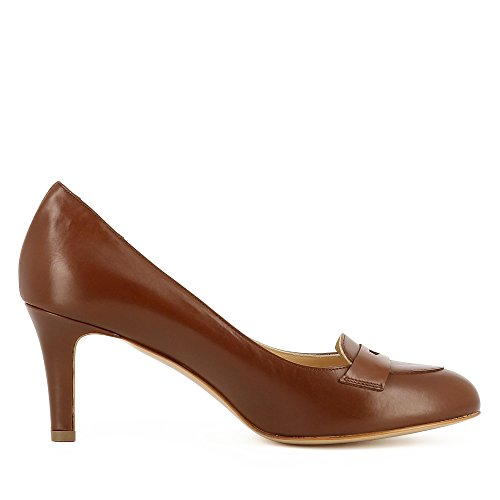 Pelle Cognac Liscia Donna Bianca Pompe In wUgq6YxY1