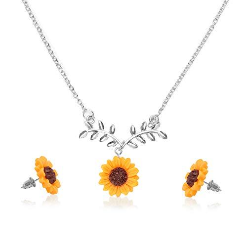 Yidarton Damen Halsketten Ohrringen Set Sonneblume Roseblumen Schwarz Diamant Halsketten Ohrringen Set Faultier Halsketten