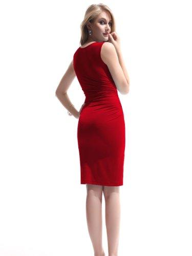 Ever Pretty Damen V-Halsausschnitt Aermellos Kurz Cocktail Party Kleider 03323 Rot