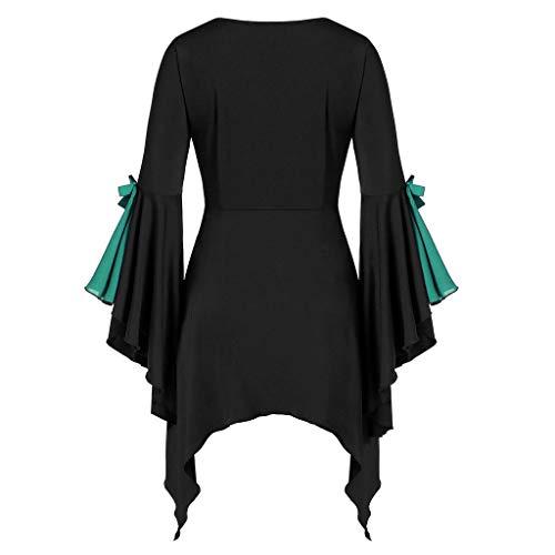 Halloween Kostüme für Frauen Plus Size Hexenkostüm Gothic Deluxe Lace up Glockenärmel Midi Kleider Vintage Fairytale Kleid Halloween Maskerade Cosplay Party Stage Dress up Zubehör (Sensenmann Für Erwachsene Kostüm Plus)