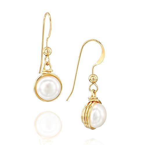 Zuchtperlen-Ohrringe, per Hand mit 14-Karat-Gold eingefasst, 8mm - Stilvolle Mutter Der Braut