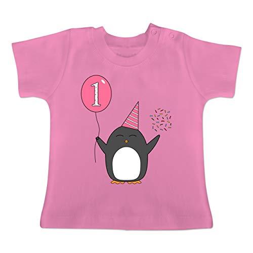 für Babys - 1.Geburtstag - Baby - Rosa - Pinguin - Ballon - Konfetti - 12-18 Monate - Pink - BZ02 - - Baby Jungen Mädchen T-Shirt Babies ()