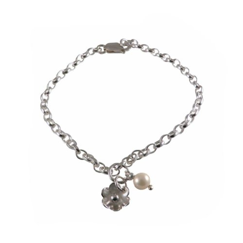 Silver Charm Bracelet Handmade 925 Sterling | Flower Pearl | FREE Delivery in UK Gift Wrapped Gifts