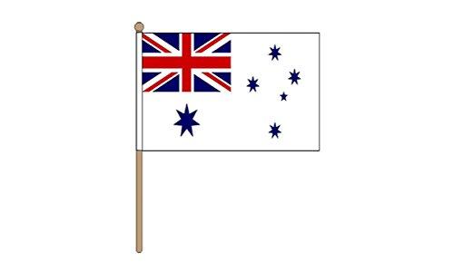 Gizzy ® Australien, Weiß/Navy/2 Zip Ensign 30.48 x 45.72 cm mit Handflagge cm Gehstock aus Holz und Endstück - 2 Endstücke Holz