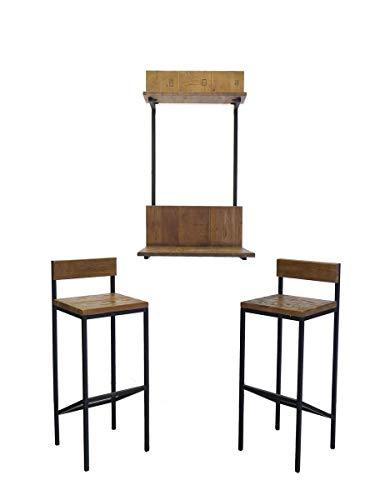 Antike Fundgrube Wandtisch Bartheke Esstisch 2 Hocker Industrie-Style Metallgestell + Holz (8590) -