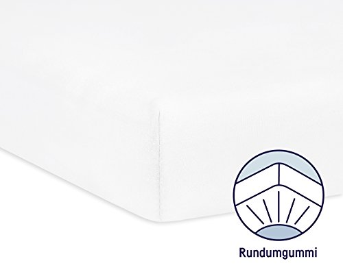 Julius Zöllner 8320113100 – Spannbetttuch Jersery für Kinderbett, Größe: 60 x 120 cm/70 x 140 cm, Farbe: weiß - 2