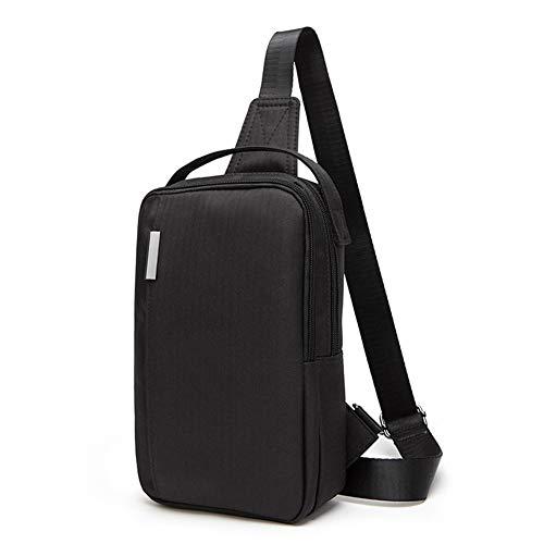HGYIO Herren-Canvas-Brusttasche, Schwarzer, Lässiger Rucksack Mit Schulterriemen, Wasserdichter Outdoor-mehrzweckrucksack,Black