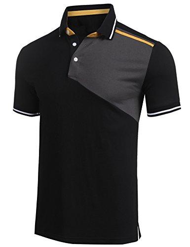 Burlady Tshirt mit Knopf Basic Shirt mit Henley Ausschnitt Herren 2 in 1 Sport Kurzarm Shirts Freizeit Männer A Schwarz