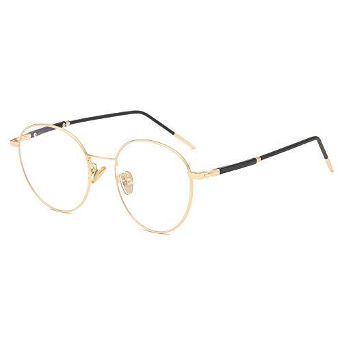 Easy Go Shopping PC-Brille UV-Cut eckige Brille Unisex Blaulicht-Brille für Sonnenbrillen und Flacher Spiegel (Color : Gold, Size : Kostenlos)
