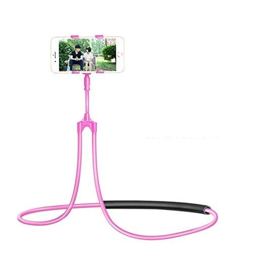 CRSM Flexible Handyhalterung Hängenden Hals Faul Halskette Halterung Bett 360-Grad-Smartphone-Halter Für iPhone Hirse Huawei Pink