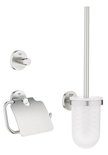 Grohe - Set de accesorios de baño Juego de WC 3 en 1 color Round (Supersteel) Ref. 40407DC1