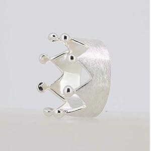 Damenring Krone Ring 925 Sterling Silber Crown Ring gebürstet Kronenring RG: 54