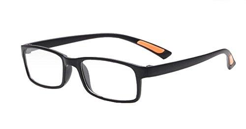Interesting® Super biegsame Mode schwarz braune Lesebrille + 2,0