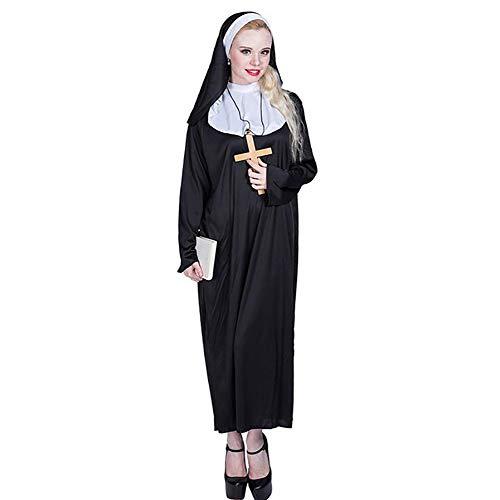Fantasy Kostüm Nonne - SHANGLY Halloween Nonne Cosplay Kostüme Für Frauen Schwarz Lange Robe und Hut Anzug Weihnachtskarneval Fantasia Party Cosplay,L