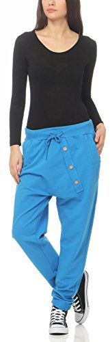 malito Damen Jogginghose mit Knopfleiste | Sporthose in Unifarben | Baggy zum Tanzen | Sweatpants �?Trainingshose 3302 Royalblau