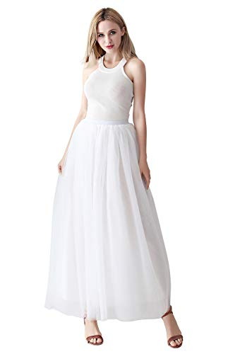 Sommer Kostüm Ball - Damen Tüll Rock Tutu lang Unterrock Petticoat für Ball Abendkleid mit Gummiband Weiß
