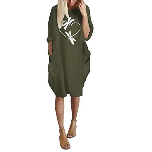 Floweworld Damen Langarm Kleider Fashion Rundhals Solide Printed Casaul Kleider Kurze Kleider Damen Mini Kleider mit Taschen - Wolle Italienische Herren-kleid