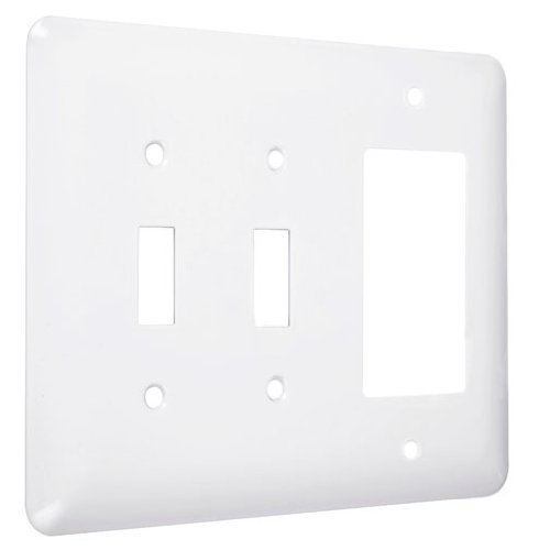 Gang White Decorator (Hubbell-Bell WRW-TTR Maxi/Princess Metallic Wallplate with Two Toggle, One Decorator/Rocker, Three Gang, White Smooth by Hubbell Bell)