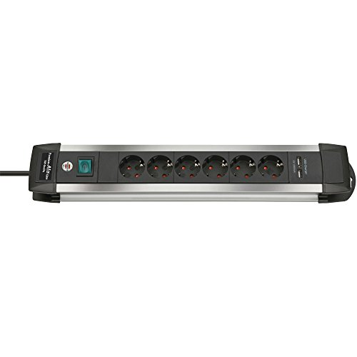 Preisvergleich Produktbild Eurosell 2er-Set Verlängerungssteckdose Premium-Alu-Line Steckdosenleiste 6-fach 3.00 m mit USB-Ladebuchsen Aluminium/Schwarz - Schutzkontakt