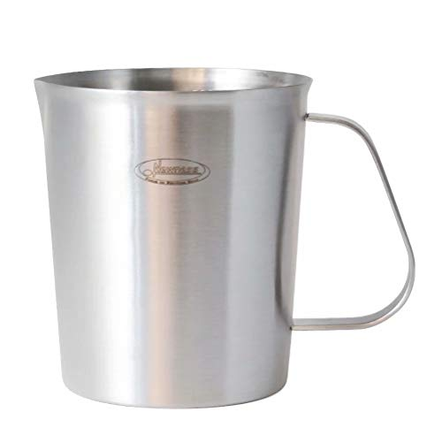 Newness Milchkännchen Edelstahl 500ML, [Cup, ML, Ounce] Messbecher Milch Pitcher Milchaufschäumer mit Griff für Craft Kaffee Latte Milch Aufschäumen - Abgewinkelte Glas