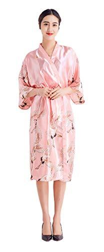 Damen Morgenmantel Lang Seide Satin Kimono Kleid Bademantel Damen Lange Robe Schlafmantel Girl Pajama Party (Korall Rot, XL)