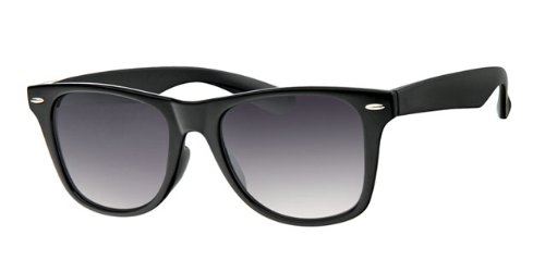 Eyewear World Black Frame Sunglasses, Gradient Black Lens, With Free Yellow Neck Cord