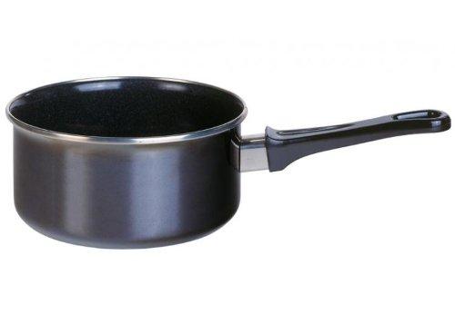 GSW Stahlwaren GmbH Sauce Pfanne, schwarz, 16x 8cm, 1,5l, Emaille, schwarz/transparent, 30x 16x 8cm (Emaille Sauce Topf)