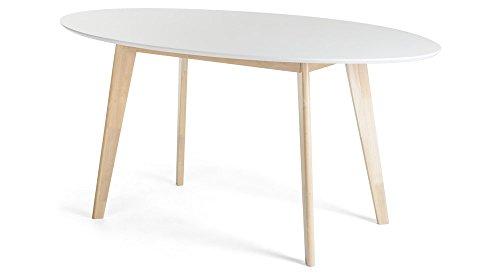 JUSTyou Monet Esszimmertisch Küchentisch Esstisch Weiß Eiche 75x90x160 cm