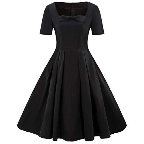 Soupliebe Mode Frauen Plus Größe Kurzarm Vintage Dress Feste Bogen Retro Flare Dress Abendkleider Cocktailkleid Partykleider Blusenkleid