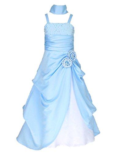 Satin Brautjungfern Anlässe Festzug Blumenmädchen Kleid Blau & Weiß Gr.134/140 (BL6008-10#) (Blau Blumenmädchen Kleid)