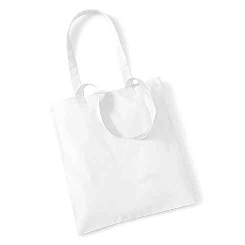 Borsa A Tracolla Shopper Long Life Di Westford Con Tracolla Shopper In Cotone Wm101, Cotone, Rosso Chiaro, 38 X 42cm Bianco