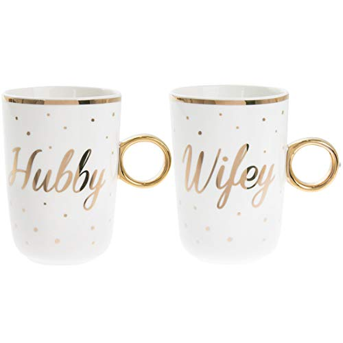 GOLD EDITION Juego de 2 Tazas de té o café apilables de Porcelana China – Hubby & Wifey New Wed / 50 Aniversario de Boda Dorado Regalo – Detalles de Lunares Dorados y Mango
