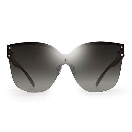JIM HALO Oversized Randlos Sonnenbrillen für Damen Ein Stück Gradient Linse Schatten(Gold Schwarzer Rahmen/Gradient Graue Linse)