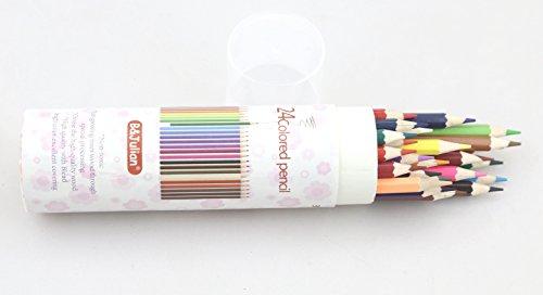 B&Julian® Buntstifte Set 24 Farben sechskant für kinder und erwachsen Farbstifte in Box Dose Etui...